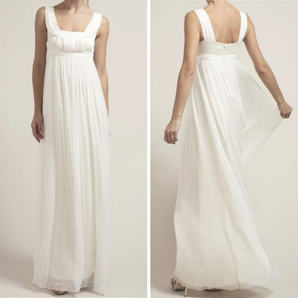Anthropologie Dresses Saja Silk Chiffon Wedding Ivory Empire Pleat